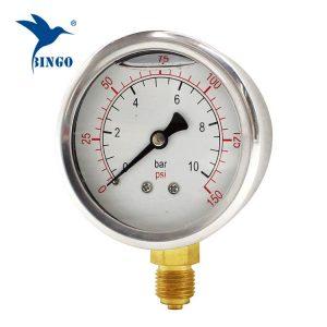 60mm paslanmaz çelik kasa pirinç bağlantı alt tipi basınç göstergesi 150PSI yağ dolu basınç göstergesi